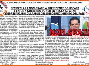SEC declara NON GRATO a Presidente de UCCAEP y exige a gobierno poner en regla al gran empresariado