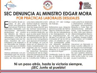 SEC denuncia al Ministro Edgar Mora por prácticas laborales desleales