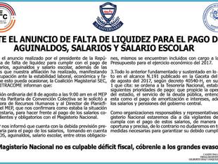 Ante el anuncio de falta de liquidez para el pago de aguinaldos, salarios y salario escolar