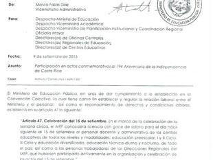 Sobre los actos conmemorativos del 194 Aniversario de la Independencia de Costa Rica.