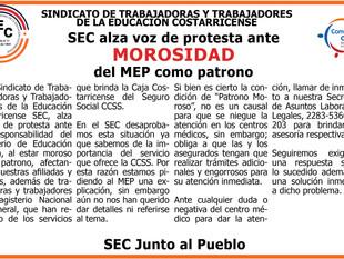SEC alza voz de protesta ante MOROSIDAD del MEP como patrono