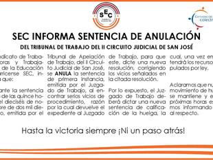 SEC informa sentencia de anulación del Tribunal de Trabajo del II Circuito Judicial de San José