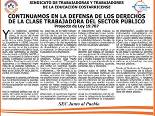 Continuamos en la defensa de los derechos de la clase trabajadora del Sector Público Proyecto de Ley