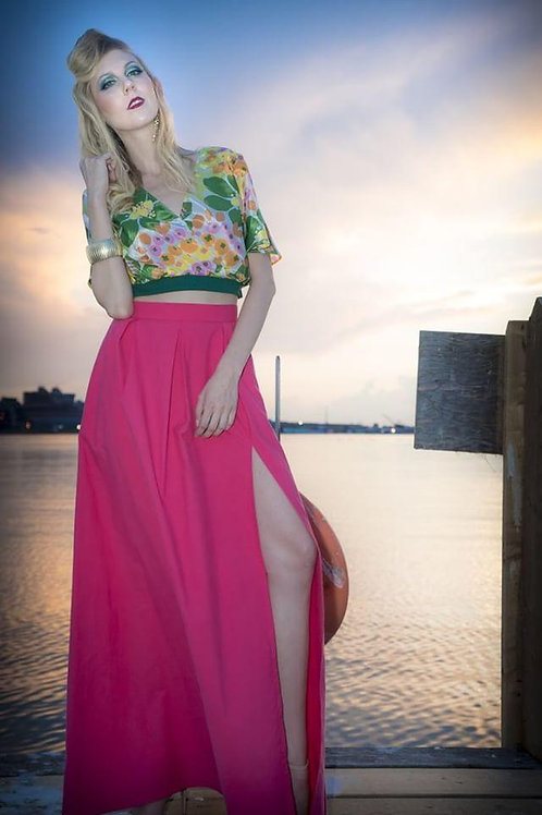 Hot Pink Maxi Skirt with Front Slit