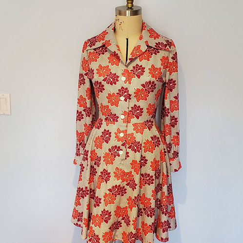Cotton Floral Print Button Up Dress