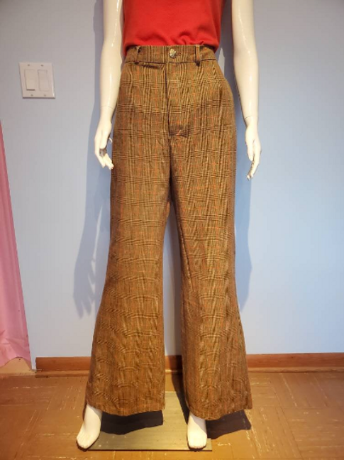 Plaid 70's Style Vintage Fabric High Waisted Bell Bottom Pants