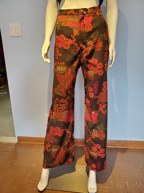 70's Style Vintage Deadstock Fabric High Waisted Bell Bottom Pants