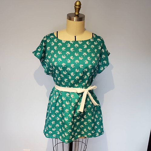 Teal Cherry Print Loose-fitting Tunic with Belt