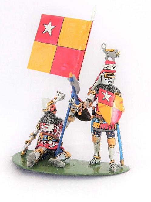 Knight defending his flag bearer