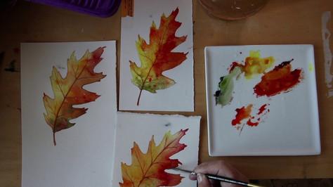 Paint Autumn Leaves and Watercolor Paper Comparison