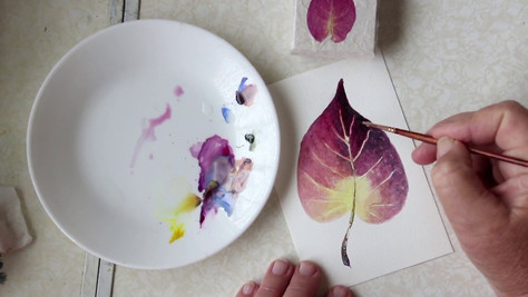 Paint a Red Leaf in Watercolor