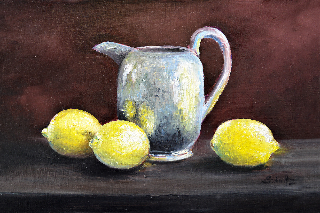 Pewter Pitcher with Lemons