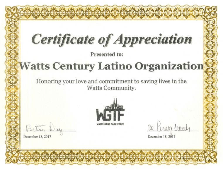 Certificate of Appreciation for WACELO