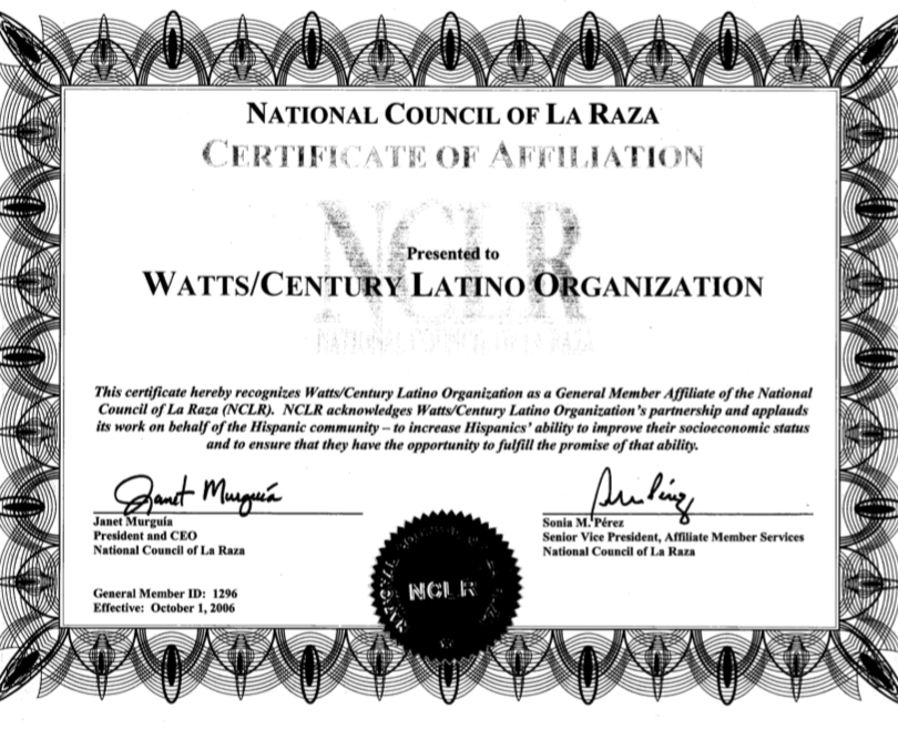 National Council of La Raza: Certificate of Affiliation