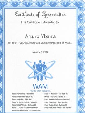 Certificate of Appreciation for Arturo Ybarra
