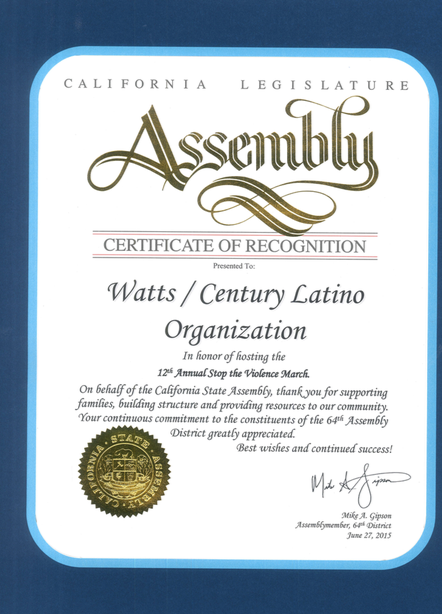 Certificate of Recognnition WACELO