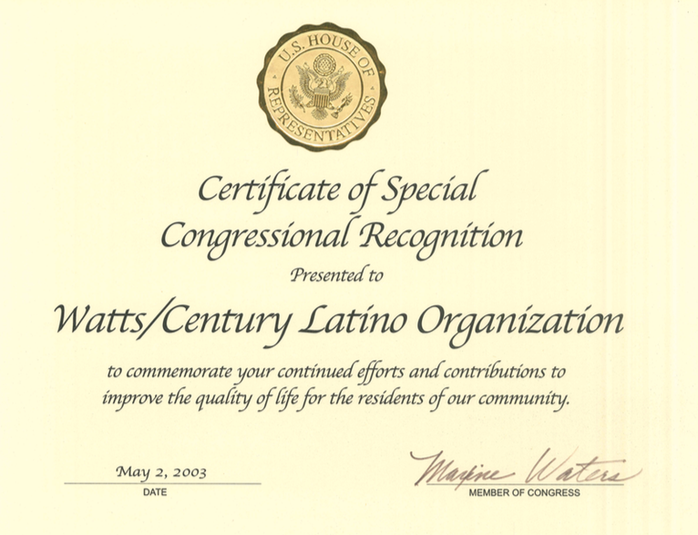 Certificate of Special Recognition