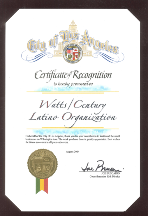 Certificate of Recognition for WACELO