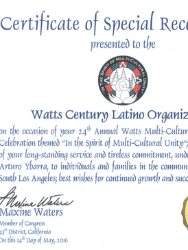 Certificate of Special Recognition for WACELO