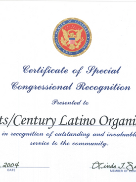 Certificate of Special Congressional Recognition