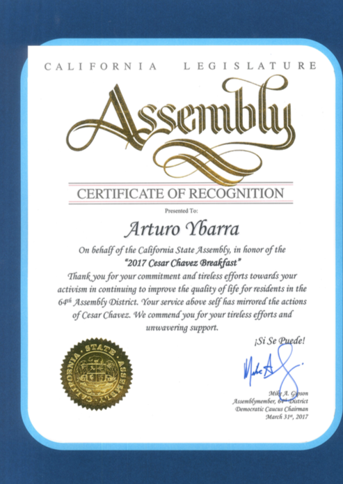 Certificate of Recognition for Arturo Ybarra