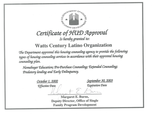 Certificate of HUD Approval