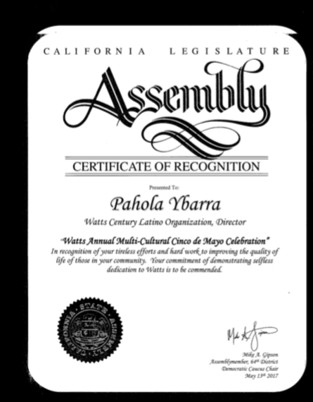 Certificate of Recognition for Pahola Ybarra