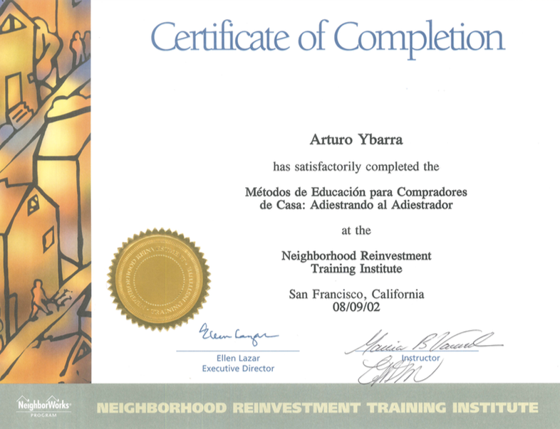 Certificate of Completion for Arturo Ybarra