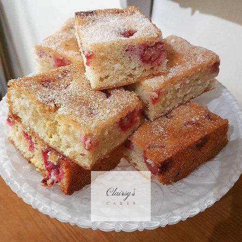 Raspberry and White Chocolate Tray Bake