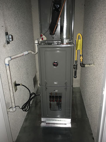 New furnace with drain line gas line and