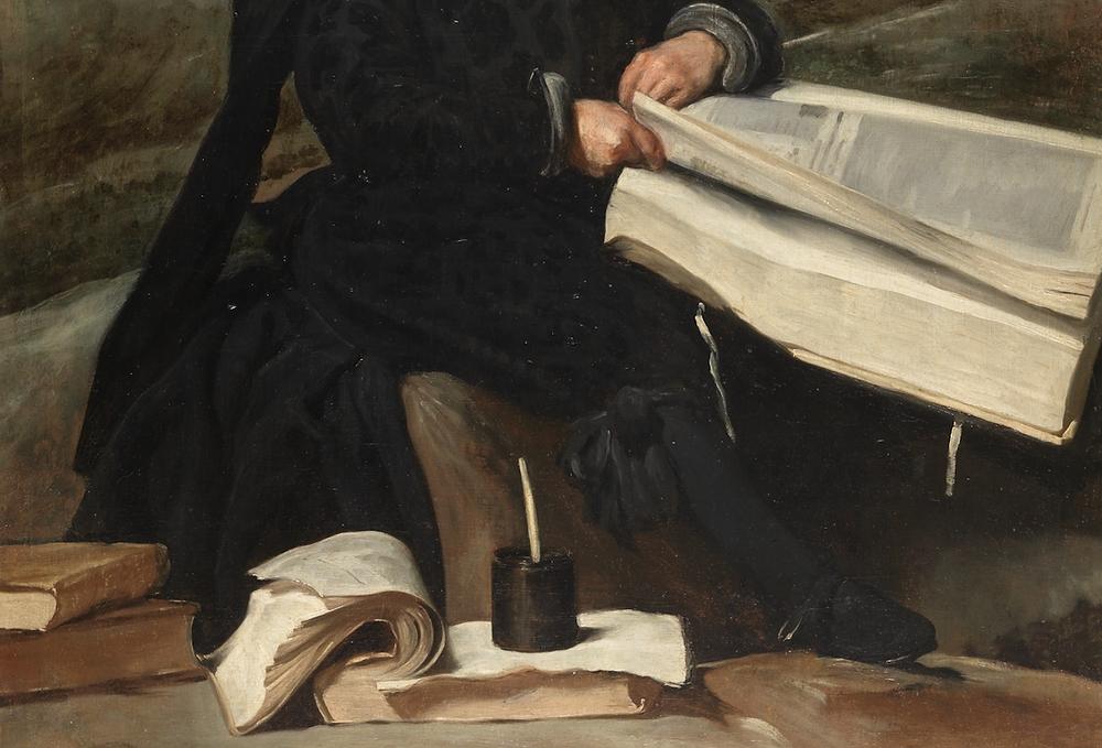 Close-up of Velázquez' 'Bufón con libros,' Museo del Prado