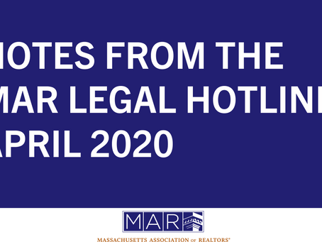 Notes from the MAR Legal Hotline: April 2020