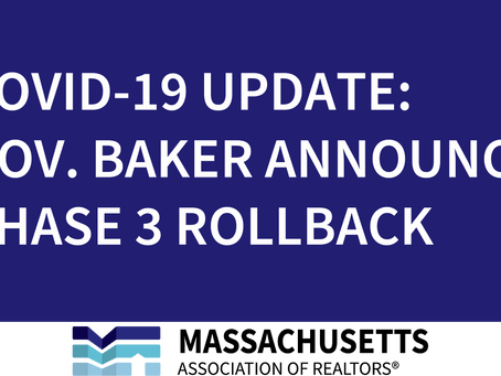 COVID-19 Update: Governor Baker Announces Phase 3 Rollback