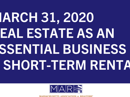 Real Estate as an Essential Business & Short-Term Rentals