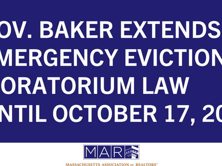 Gov. Baker Extends Emergency Eviction Moratorium Law Until October 17, 2020