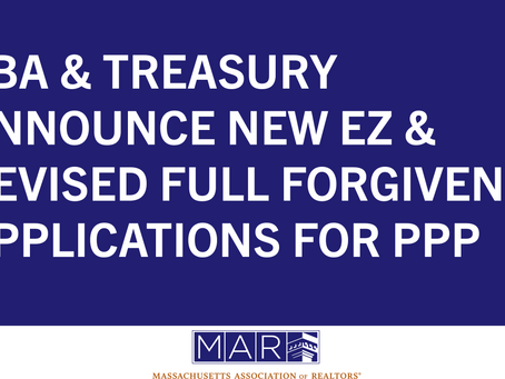SBA and Treasury Announce New EZ and Revised Full Forgiveness Applications for the PPP