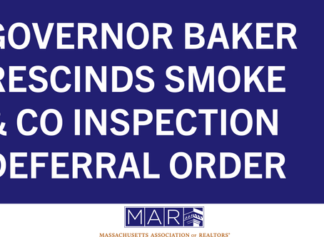 Governor Baker Rescinds Smoke and CO Inspection Deferral Order