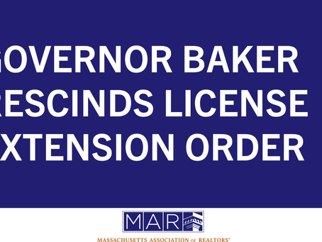 Governor Baker Rescinds License Extension Order