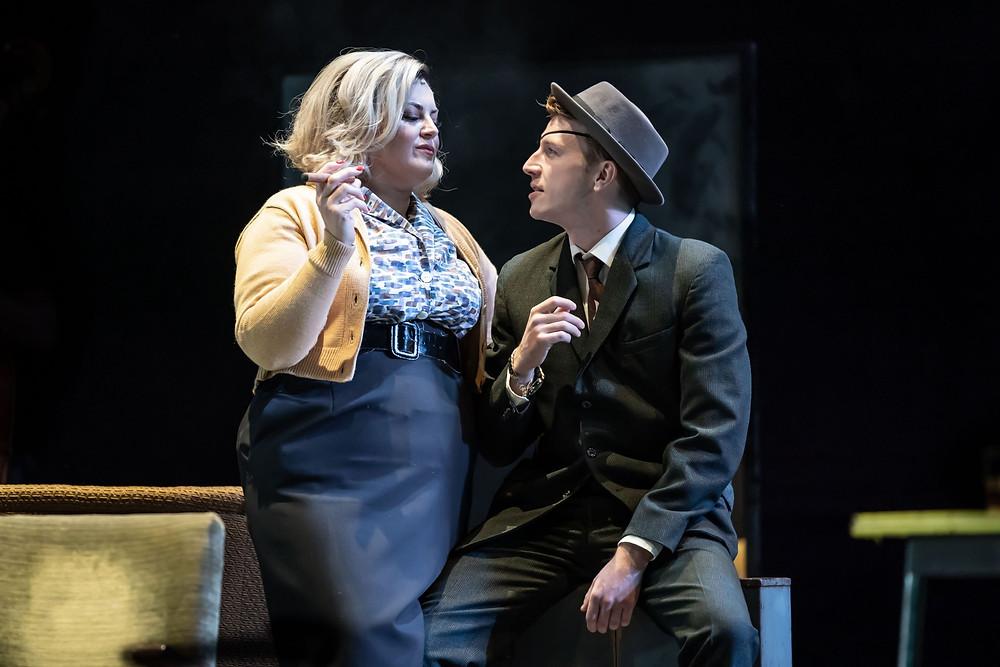 A Taste of Honey - Jodie Prenger as Helen and Tom Varey as Peter - Credit Marc Brenner