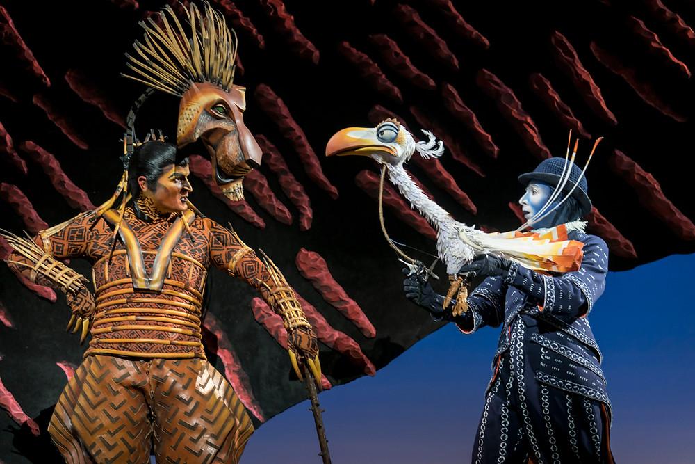 Richard Hurst (Scar) and Matthew Forbes (Zazu) in Disney's The Lion King UK & Ireland tour -® Disney