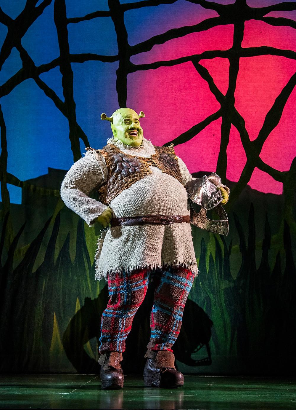 Steffan Harri in Shrek the Musical UK and Ireland tour 2018. Credit Tristram Kenton