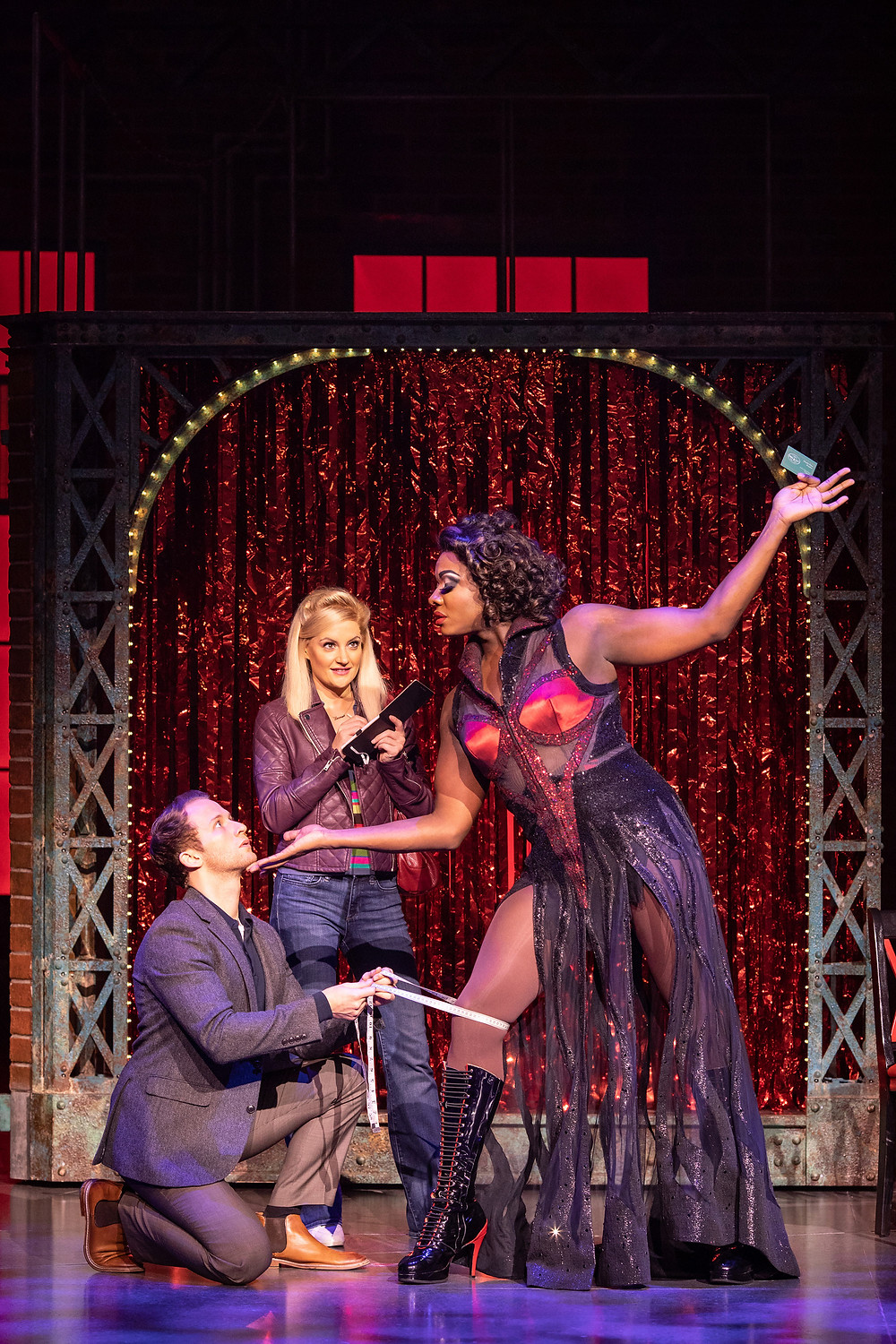 Joel Harper-Jackson (Charlie) Paula Lane (Lauren) and Kayi Ushe (Lola) in Kinky Boots_Photo Helen Maybanks