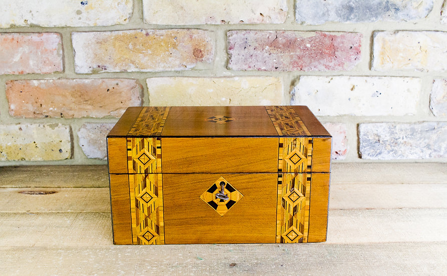 Walnut Tunbridge inlay work/sewing box c.1880 SOLD