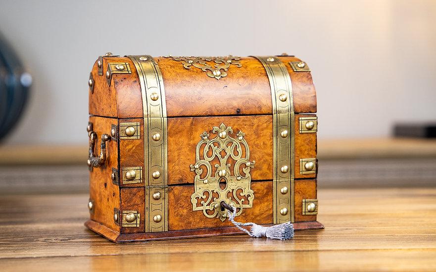 Burr Walnut & Brass Casket 1870 SOLD