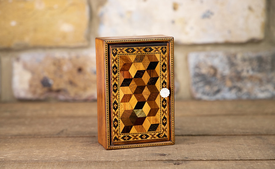 Tunbridge Ware Perspective Cube Box c.1880