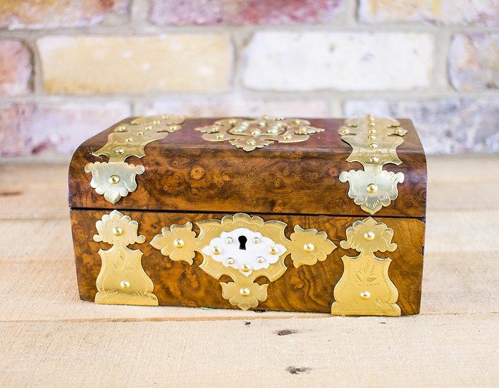 Burr Walnut brass overlay Table Box c.1870 SOLD