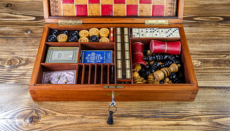 Solid Mahogany Games Box 1850 SOLD