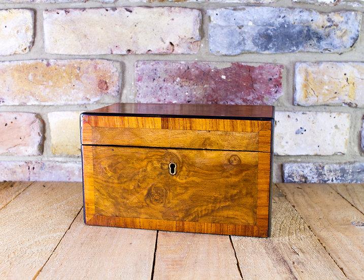 Burr Walnut Tea Caddy c.1860 SOLD