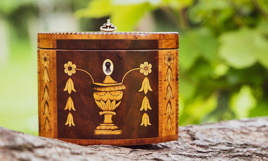 Rare Immaculate Urn & Husk oval Tea Caddy 1790 SOLD