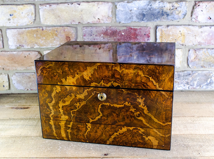 Burr Walnut Jewellery Box c.1850 SOLD